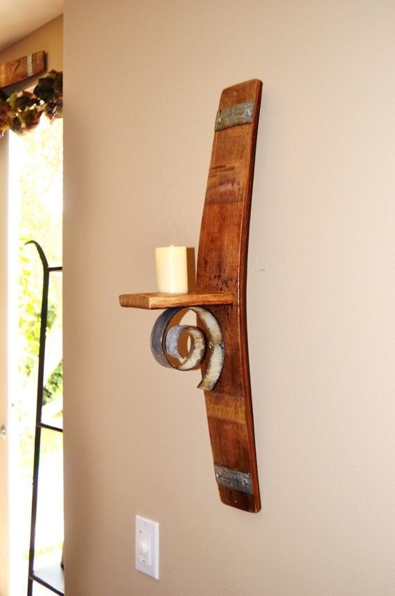 Ideas of Wine Barrel Stave Wall Candle Holder wall mounted candle holders