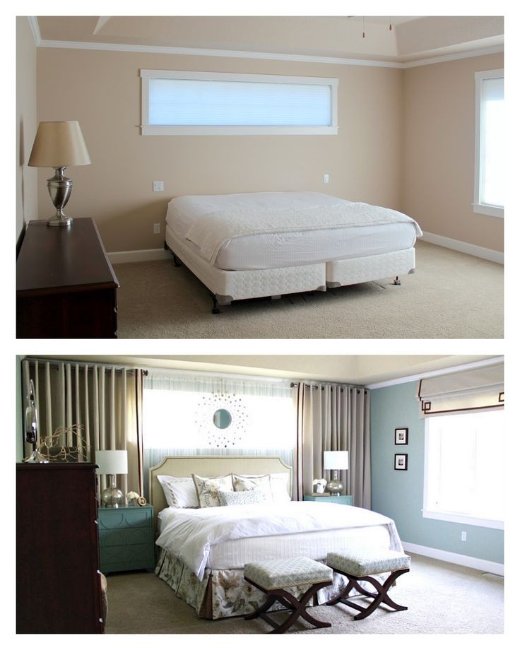 Images of Bedroom Inspiration: Layering bed in front of faux/real window. Using  drapes to window treatments for small bedroom windows