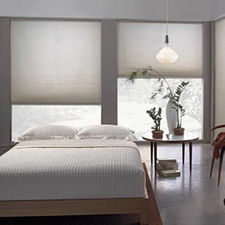 Images of cellular shades (disappear neatly when they are open, allowing for maximum  light contemporary bedroom window treatments