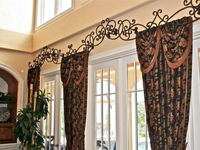 Images of Custom rod iron header for drapes family-room custom drapery rods