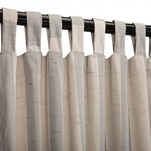 Images of Decade Pewter Sunbrella Outdoor Curtains Tab Top tab top curtains with buttons