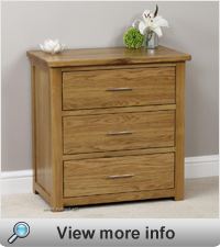Images Of London Solid Oak 3 Drawer Small Chest Drawers