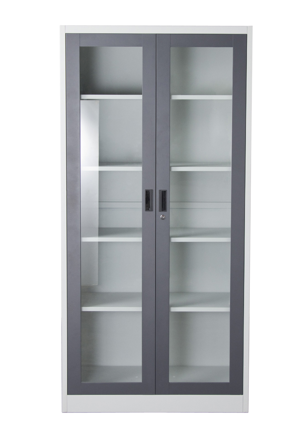 Images of Nova Qwik 2-Door 5-Shelf Bookcase with Tempered Glass Door Front in Grey 2 shelf bookcase with glass doors