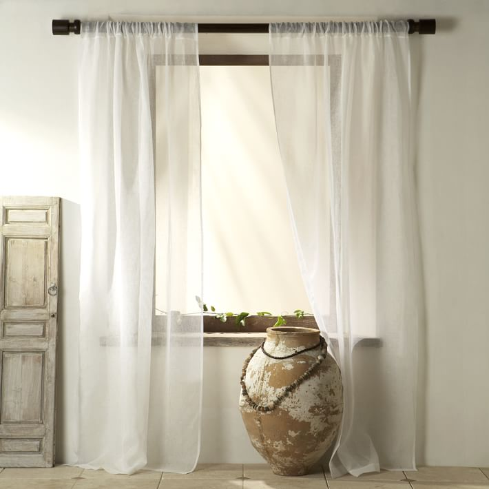 Images of Sheer Linen Curtain - White | west elm white linen curtains