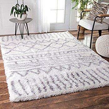 Images of Soft u0026 Plush Geometric Drawings Kids Grey Shag Area Rugs, 5 Feet 3 white shag area rug