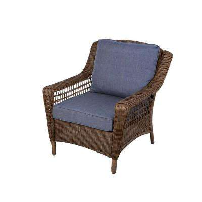 Images of Spring Haven Brown All-Weather Wicker Patio Lounge Chair with Sky Blue patio lounge chairs