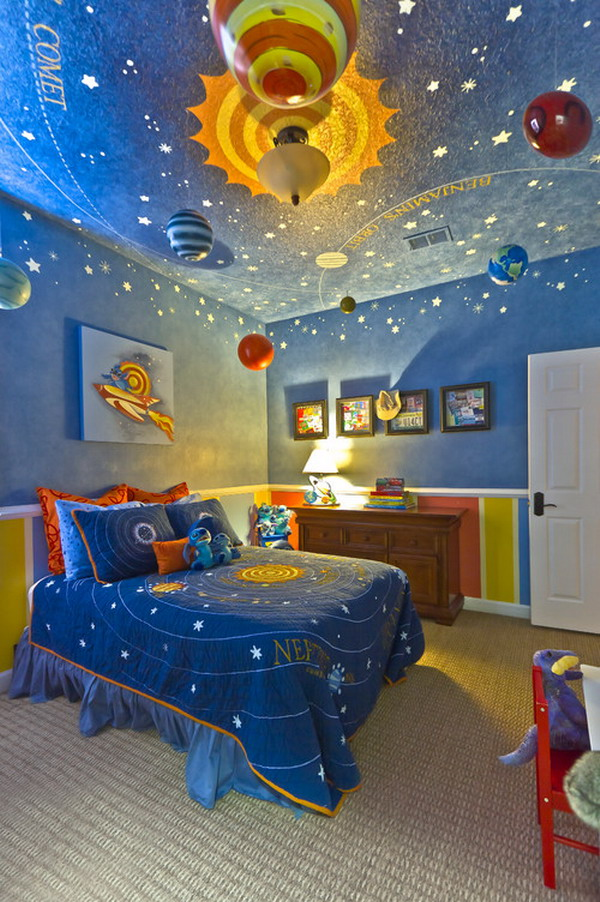 Images of The Solar System inspired toddlers room is filled with hand-painted and  ceiling kids room ideas for boys