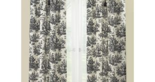 Images of Waverly Country Life 84-in Black Cotton Rod Pocket Single Curtain Panel waverly toile curtains