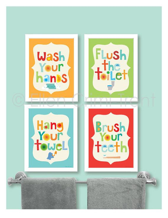Ideas of Kids Bathroom Decor Kids bathroom art by EllenCrimiTrent on Etsy, $65.00 kids bathroom sets
