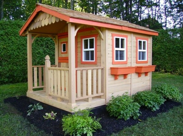 Best DIY Designs - Kids Pallet Playhouse Plans | Wooden Pallet Furniture kids outdoor playhouse furniture