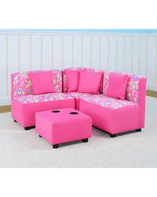 Cute Kangaroo Kids Sectional Sofa Set - Daisy Doodle Pink kids sectional sofa