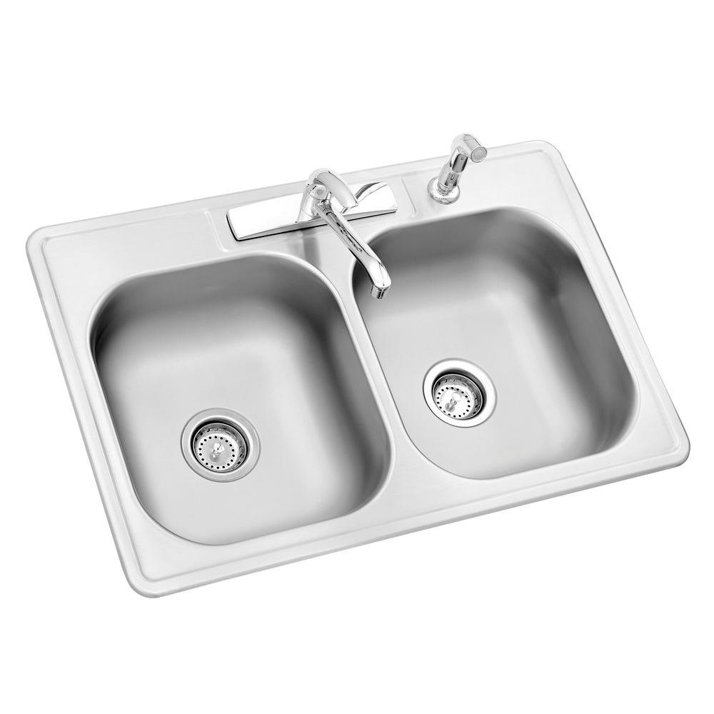 Amazing All-in-One Drop-In Stainless Steel 33 in. 4-Hole kitchen sinks stainless steel