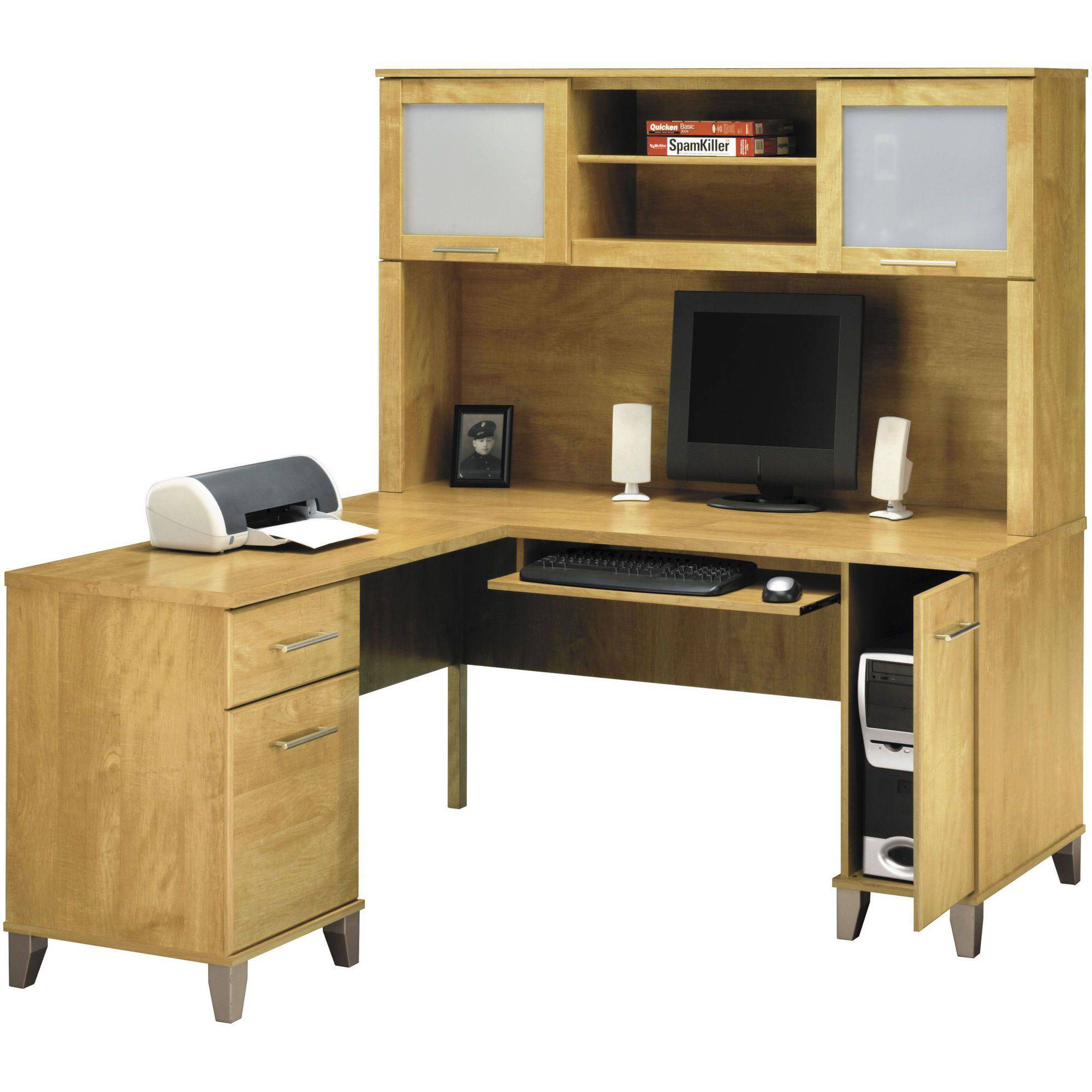 Cool Bush Somerset 60 l shaped computer desk with hutch