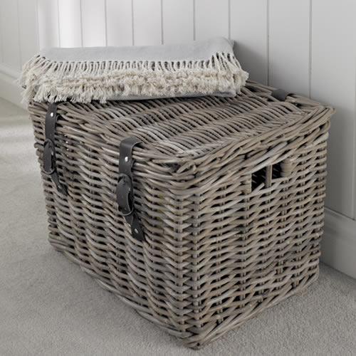 New Fishermanu0027s Wicker Basket - Large at Store. Chunky lidded rattan Storage large wicker storage baskets