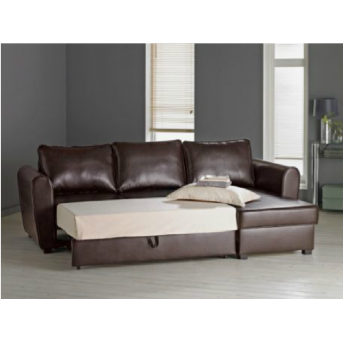 Pictures of New Siena Fabric Corner Sofa Bed with Storage - Charcoal. leather corner sofa bed with storage