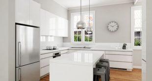 Luxury Classic modern white kitchen design. Solu-slimline handles, gloss  polyurethane door fronts modern white kitchen designs