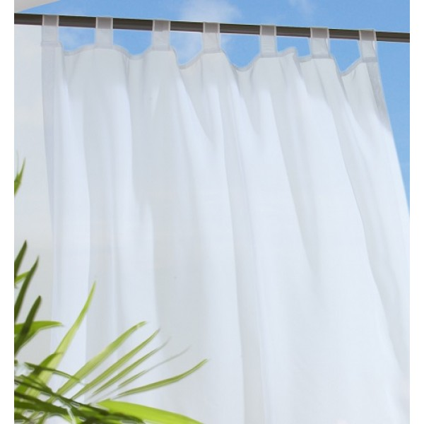 Luxury Commonwealth Escape Tab Top Sheers - White tab top sheer curtains
