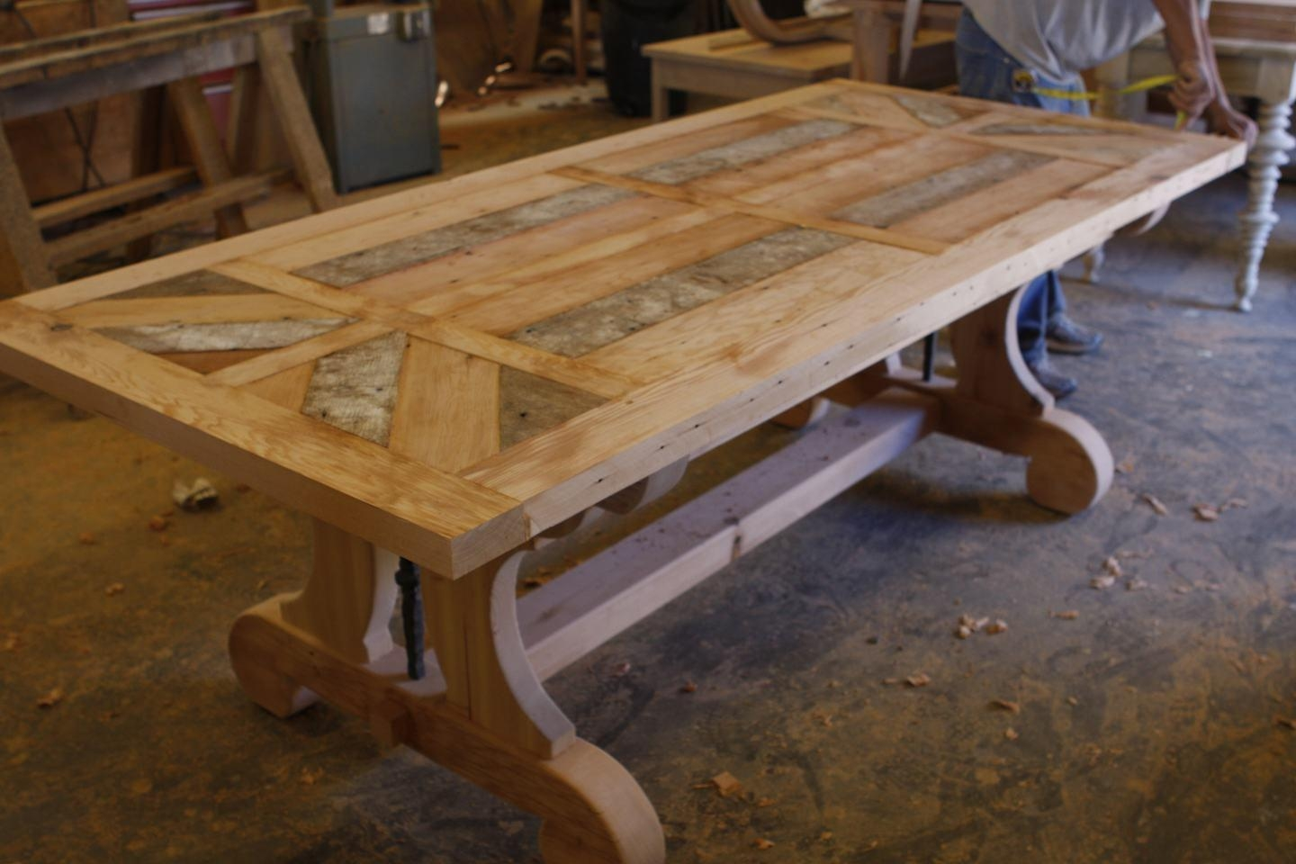 Luxury Custom Trestle Dining Table With Leaf Extensions Built In Reclaimed Wood reclaimed wood dining room table