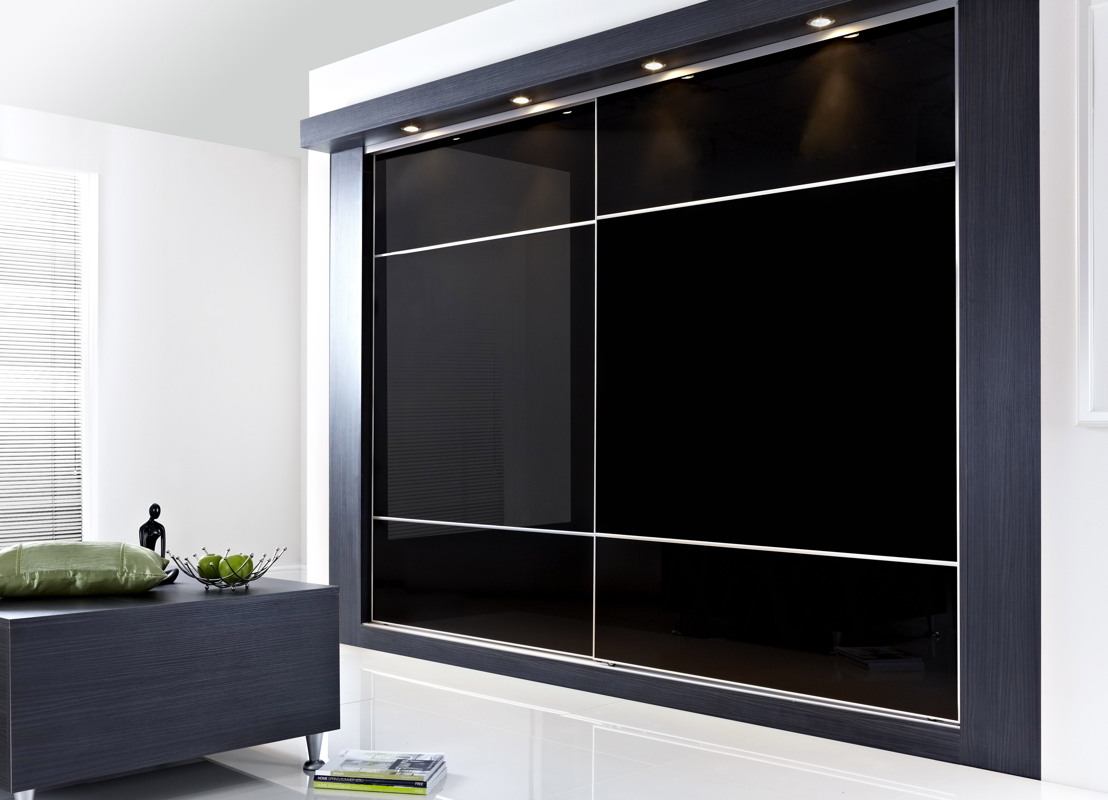 Luxury Furniture. large black glass bedroom cabinet with sliding door connected by glass wardrobe designs for bedroom