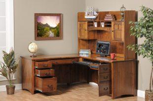 Luxury Image of: Corner Office Desk Wooden corner office desk with storage