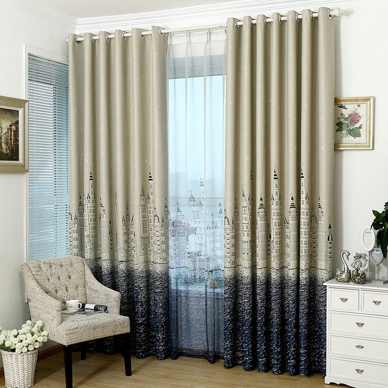 Luxury Kids Bedroom Castle Patterns Wide blackout curtains kids bedroom blackout curtains