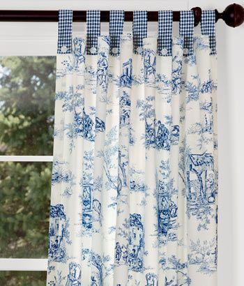 Luxury Lenoxdale Toile Button-Tab Curtains with Laurel Check but in black for the blue toile curtains
