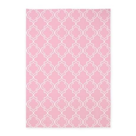 Luxury Pink Moroccan Quatrefoil 5u0027x7u0027Area Rug pink area rug