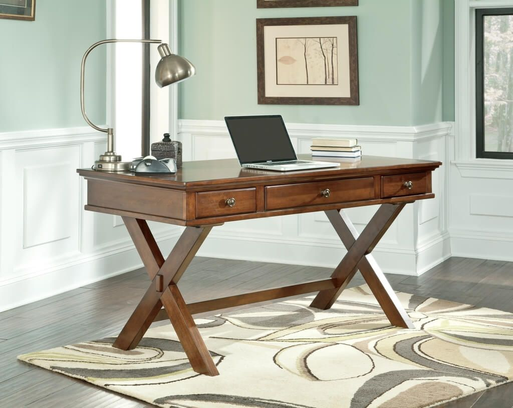 Luxury Small Solid Wood Home Office Desk With Drawers And Decorative Rug wood desks for home office