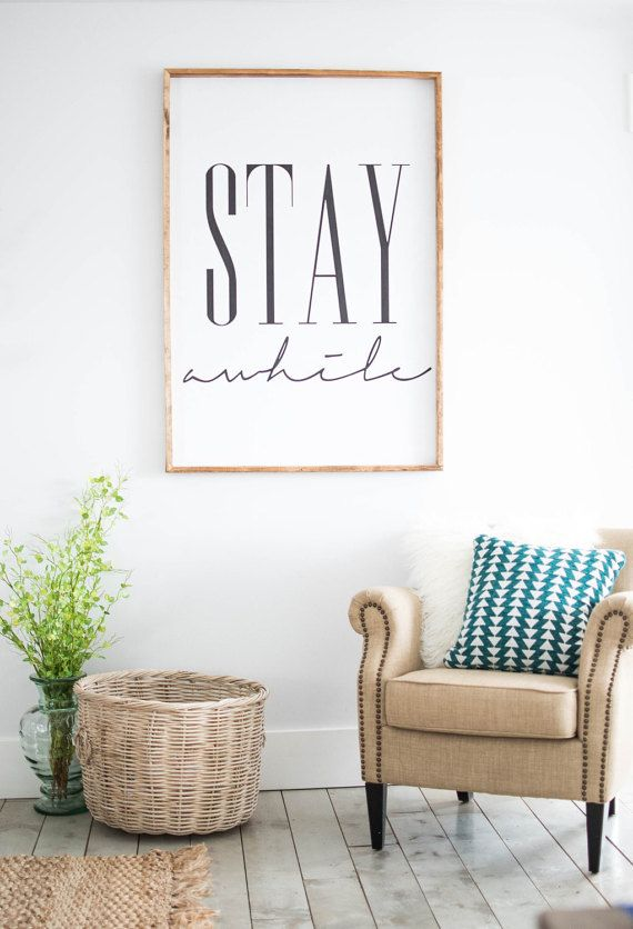 Luxury Stay awhile framed print, Home Decor, Wall Art More home decor wall art