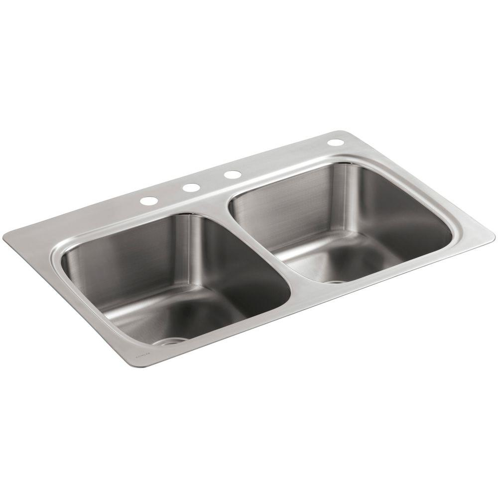 Luxury Verse Drop-In Stainless Steel 33 in. 4-Hole Double Basin Kitchen Sink kitchen sinks stainless steel