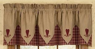 Master Black and Khaki Check Scalloped Valance Measures 72 country valances