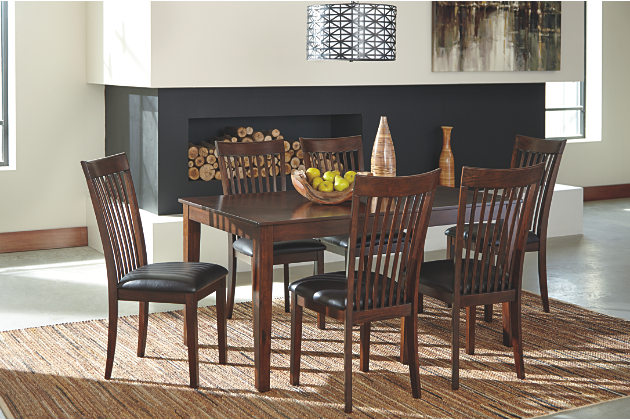 Master dark brown dining room table with six upholstered seat chairs dining room table and chair sets
