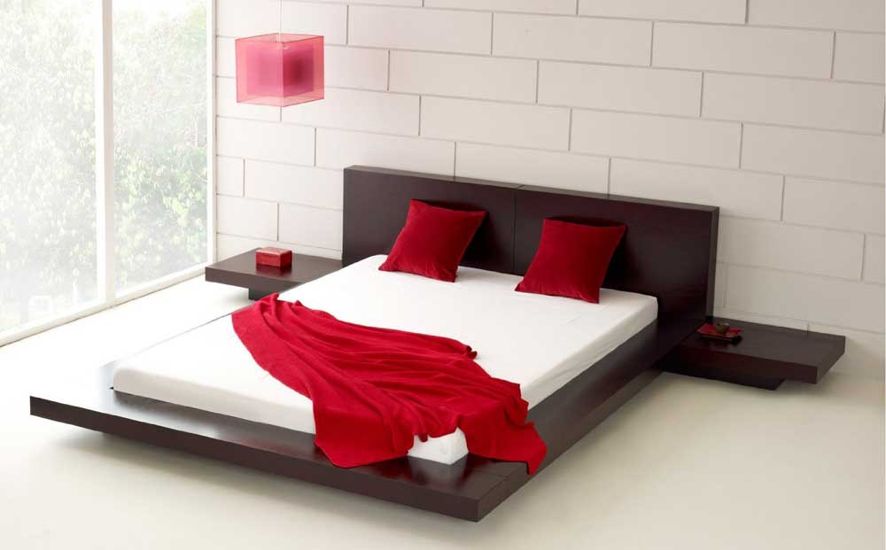 Master Fujian Modern Platform Bed + 2 Night Stands King in Espresso low profile platform bed