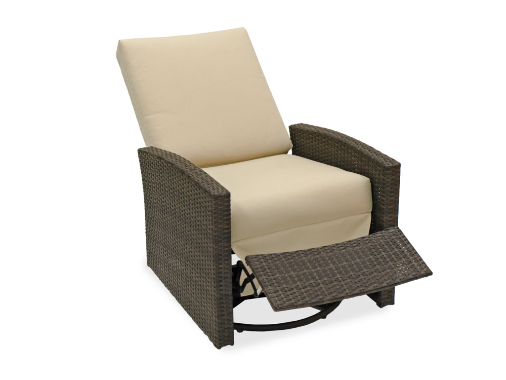 Master Havana Aluminum u0026 Woven Resin Wicker Swivel Recliner reclining patio chair