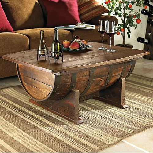 Master Have you ever wondered that you can design your own DIY coffee table wine barrel furniture