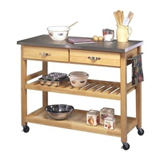 Master Home Styles - Natural Designer Utility Cart With Stainless Steel Top - kitchen carts and islands