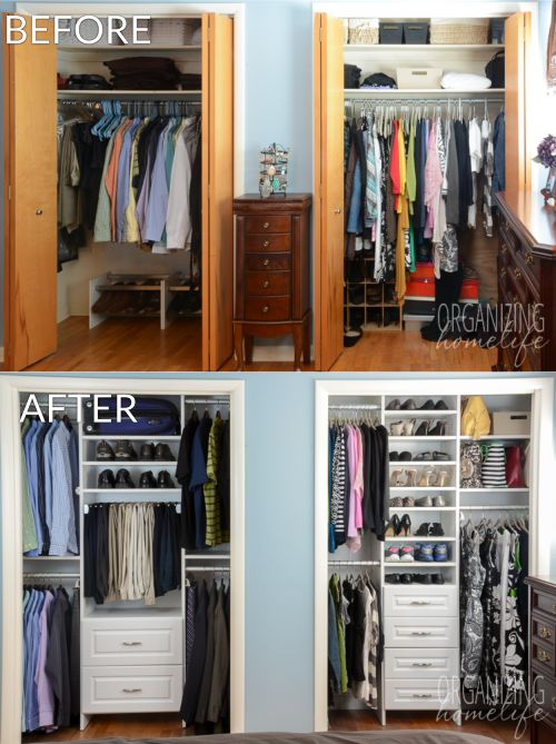 Master Master Bedroom Closet Makeover Before and After small closet solutions