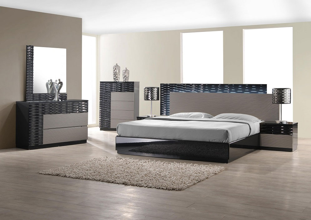 Master Modern Bedroom Set with LED lighting system modern bedroom furniture sets