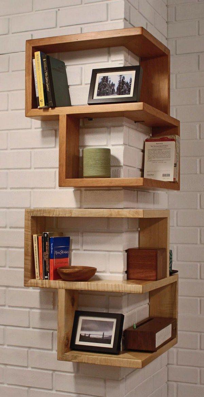 Master shelving corner around construction wooden books wall design white masonry wooden wall shelves