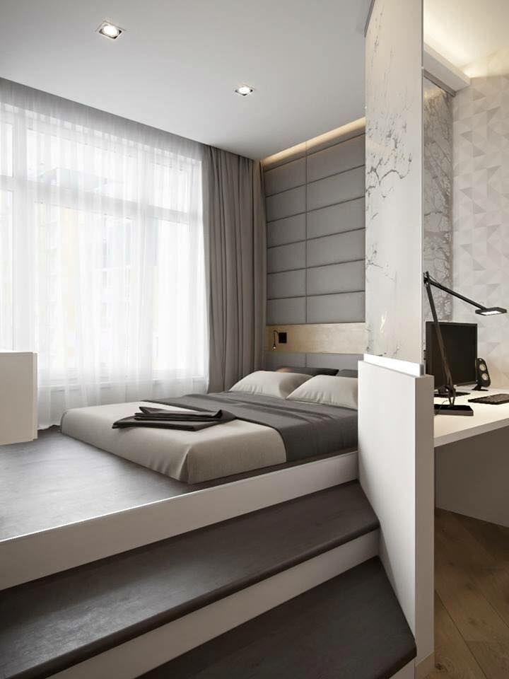 Master Une chambre minimaliste et contemporaine. www.m-habitat.fr/.. Studio  ApartmentsSmall ... modern bedroom design ideas