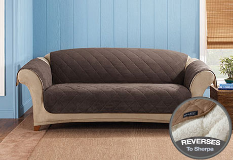 Master View Details u003e · Reversible Suede u0026 Sherpa leather sofa covers