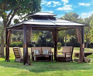 Modern Image is loading 10-x-12-Hardtop-Metal-Steel-Roof-Outdoor- metal patio gazebo