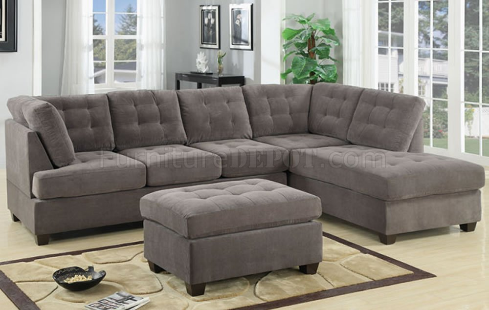Cute F7139 Reversible Tufted Sectional in Charcoal Suede by Poundex microfiber sectional sofa