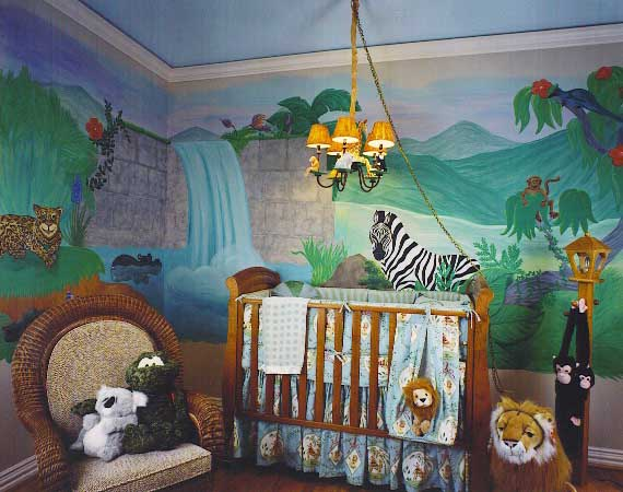 Modern baby room decorating · wall mural with waterfall and animals childrens themed bedrooms
