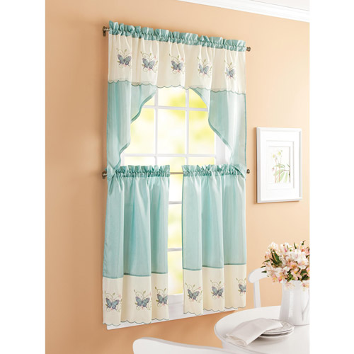 Modern Better Homes and Garden Embroidered Butterfly Window Kitchen Curtains, Set  of 2, butterfly kitchen curtains
