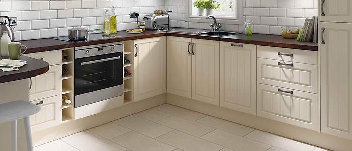 Modern Chesham offers neat relaxed lines and a distinctive tongue and groove style homebase kitchen units