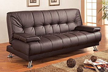 Modern Coaster Futon Sofa Bed with Removable Arm Rests, Brown Vinyl brown futon sofa bed