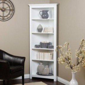 Modern Corner bookshelf to put up decor knick-knacks and organize her white corner bookcase