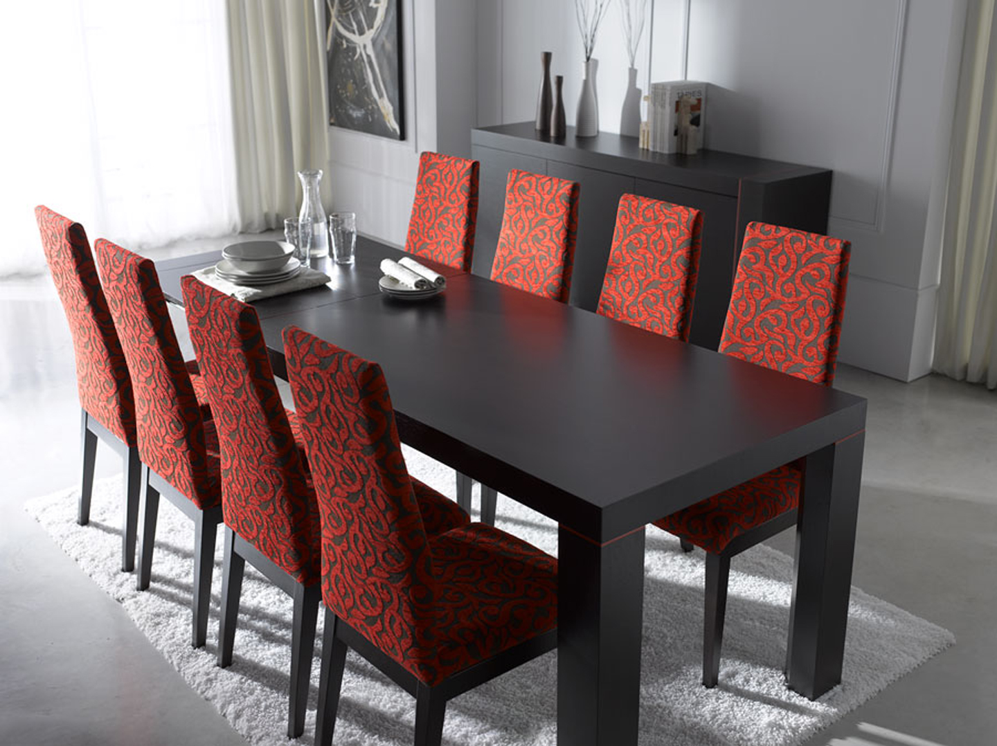 Elegant Small dining room with black table and red chair furniture modern dining room furniture sets