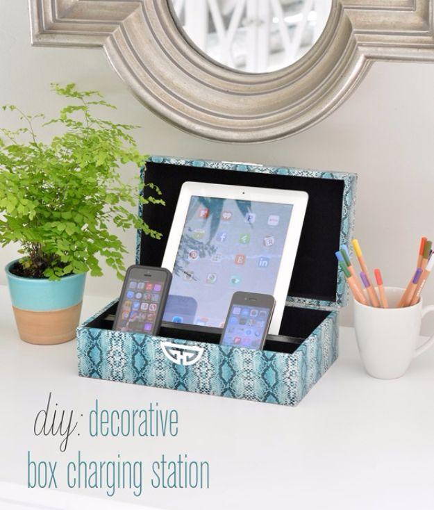 Modern DIY Teen Room Decor Ideas for Girls | DIY Decorative Box Charging diy teen room decor